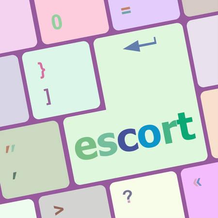 escort: escort button on computer pc keyboard key vector illustration Illustration