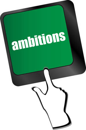 ambition: computer keyboard with ambition button - business concept, keyboard keys vector illustration