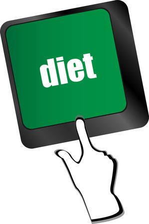 pc health: Health diet button on computer pc keyboard vector illustration Illustration