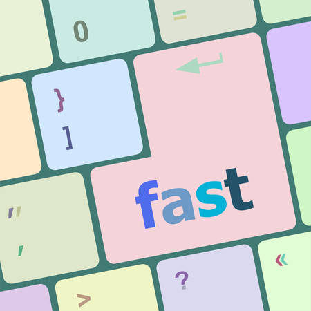 fast computer: fast button on the computer keyboard key vector illustration