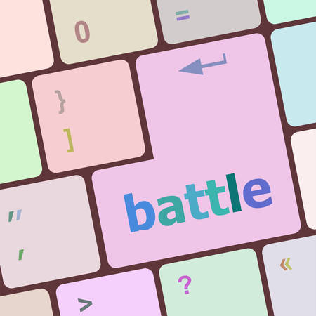 quake: battle button on computer keyboard pc key vector illustration Illustration