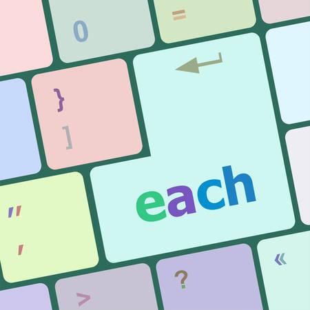 each: each button on computer keyboard vector illustration