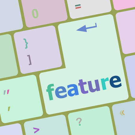 feature: feature word on keyboard key, notebook computer button vector illustration Illustration