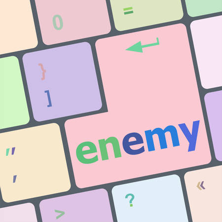 enemy: enemy button on computer pc keyboard key vector illustration