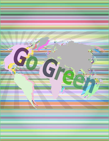 gree: touchscreen with message - Go Green vector illustration