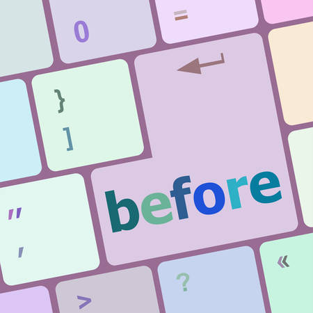 before: before button on computer keyboard key vector illustration Illustration