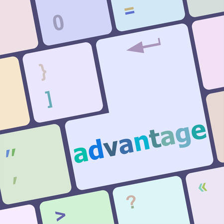 advantage: Close up view on conceptual keyboard - advantage vector illustration Illustration