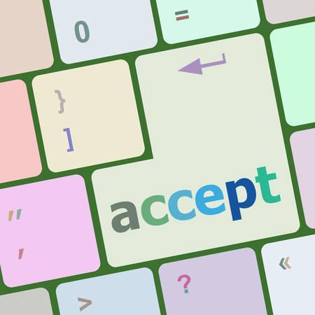 accept on computer keyboard key enter button vector illustration
