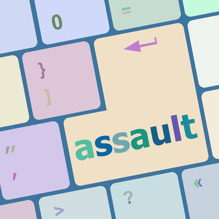 assault: Keyboard with enter button, assault word on it vector illustration