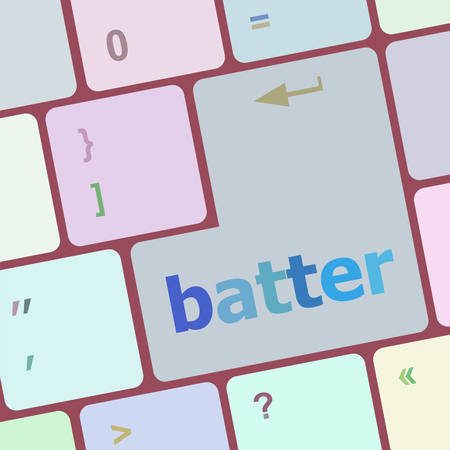 batter: batter word on keyboard key, notebook computer button vector illustration Illustration