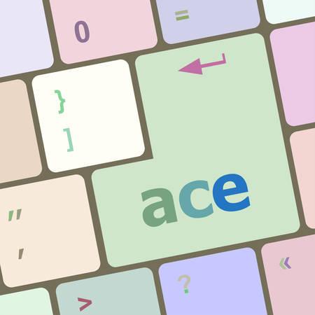 hold'em: ace on computer keyboard key enter button vector illustration