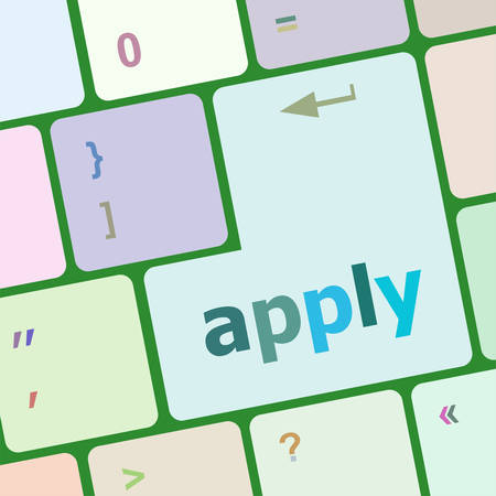 socialise: Apply online by pressing computer keyboard key to complete your application for a job vector illustration