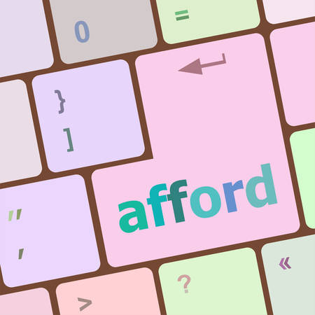 afford: afford word on computer pc keyboard key vector illustration