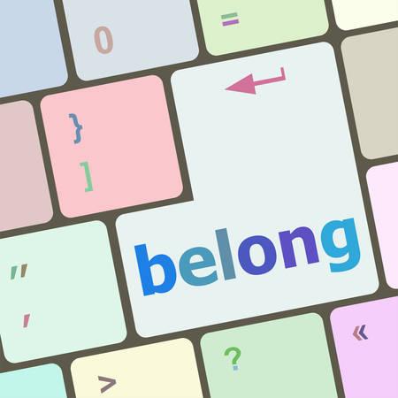 belong: belong word on keyboard key, notebook computer button vector illustration