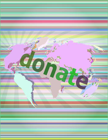 screenshot: business concept: words donate on digital touch screen vector illustration