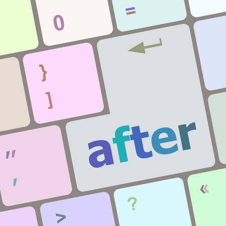 after: after word on computer pc keyboard key vector illustration