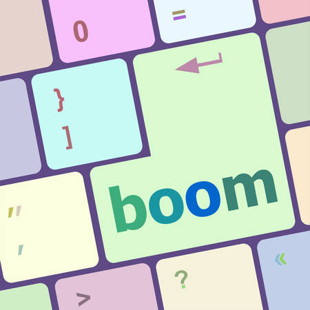 economic recovery: boom button on computer pc keyboard key vector illustration Illustration