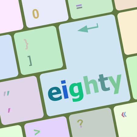 eighty: enter keyboard key with eighty button vector illustration Illustration