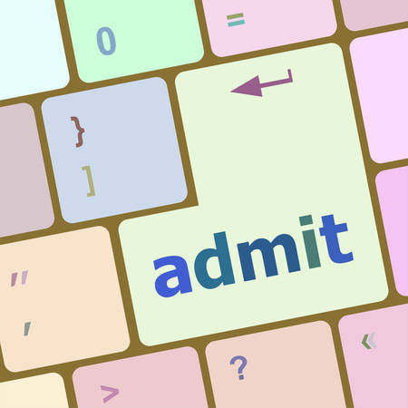 admit: admit sign button on keyboard with soft focus vector illustration