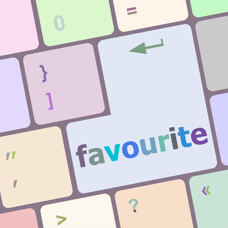 favourite: favourite button on computer pc keyboard key vector illustration
