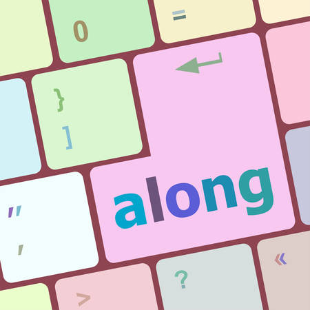 along words concept with key on keyboard vector illustration
