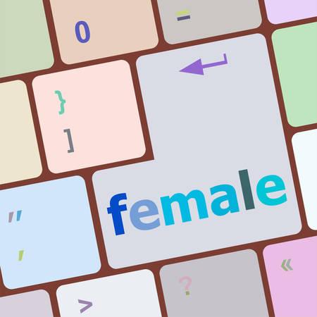 keyboard key: female word on keyboard key, notebook computer button vector illustration Illustration