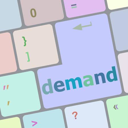 on demand: demand button on computer pc keyboard key vector illustration