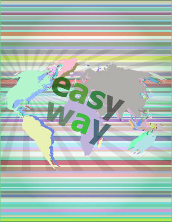 easy way: social concept: easy way word on digital screen vector illustration