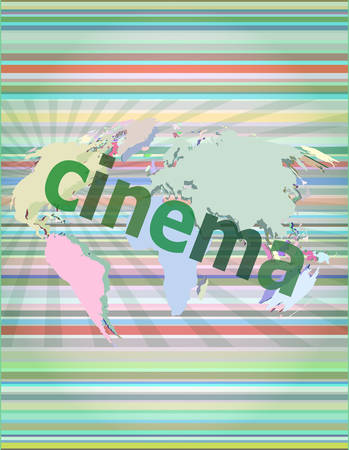 cinema screen: cinema word on digital screen with world map vector illustration