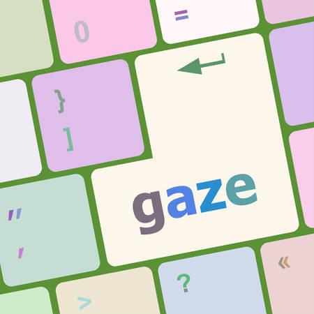 gaze: gaze button on computer pc keyboard key vector illustration