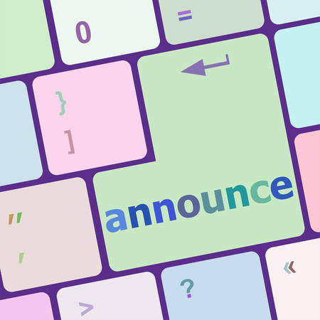 to announce: Keyboard with white enter button, announce word on it vector illustration