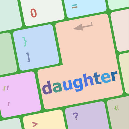 up code: social concept: computer keyboard with word daughter vector illustration