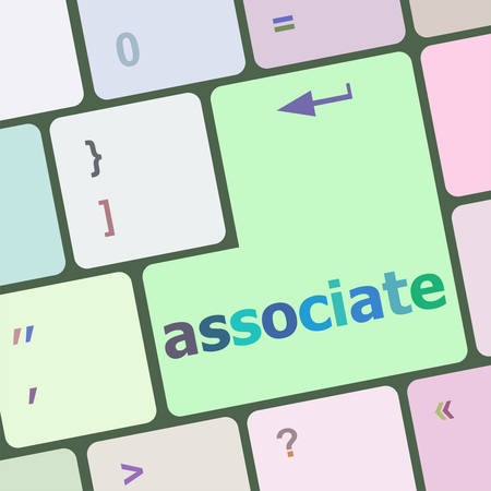 associate: Keyboard with enter button, associate word on it vector illustration