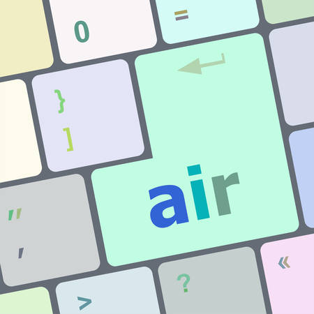 air on computer keyboard key enter button vector illustration