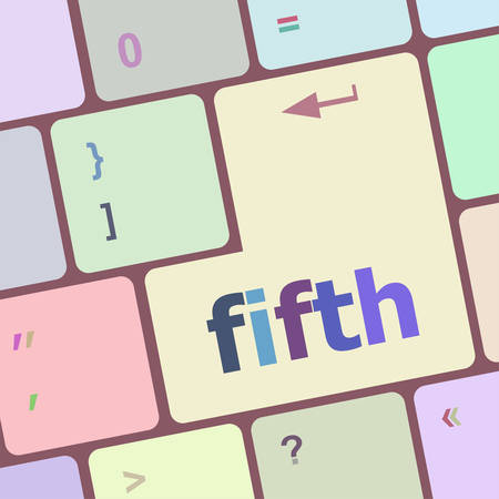 fifth: fifth button on computer pc keyboard key vector illustration