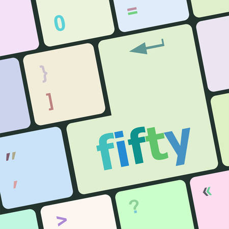2 50: fifty button on computer pc keyboard key vector illustration