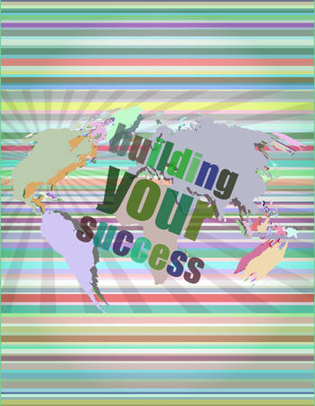 touch screen interface: building your success - digital touch screen interface vector illustration