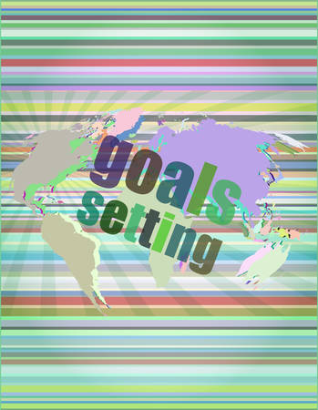 goal setting: Goal setting concept - business touching screen vector illustration
