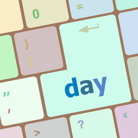 24x7: day button on computer pc keyboard key vector illustration Illustration