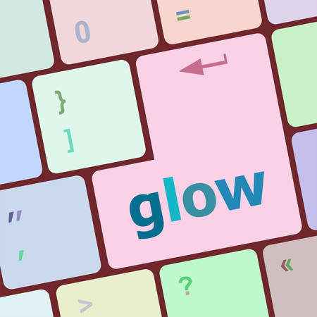 notebook computer: glow word on keyboard key, notebook computer button vector illustration