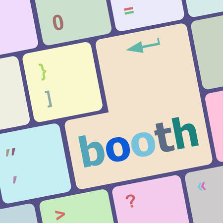 economic recovery: booth button on computer pc keyboard key vector illustration