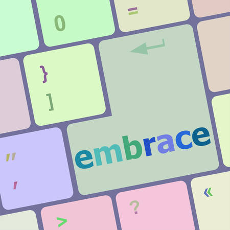 span: computer keyboard key with the word embrace on it vector illustration