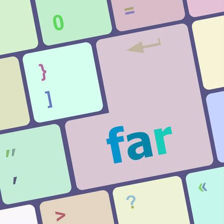 computer button: far word on keyboard key, notebook computer button vector illustration