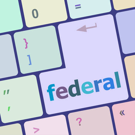 computer button: federal word on keyboard key, notebook computer button vector illustration