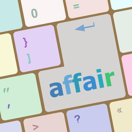 affair: computer keyboard keys, affair word vector illustration