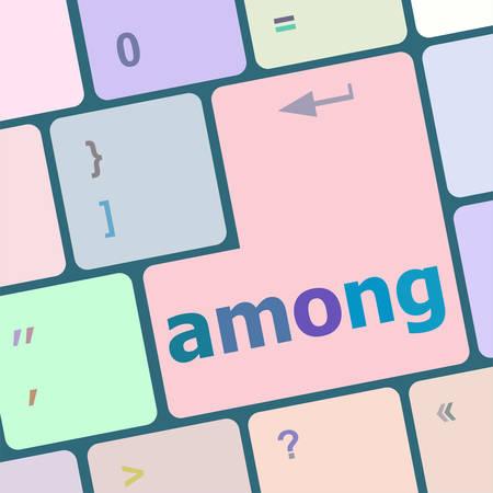 keyboard key: among Button on Modern Computer Keyboard key vector illustration