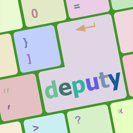 deputy: social concept: computer keyboard with word deputy vector illustration