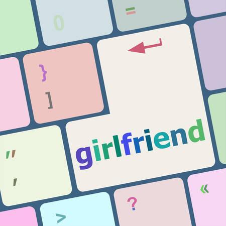 computer button: girlfriend word on keyboard key, notebook computer button vector illustration Illustration