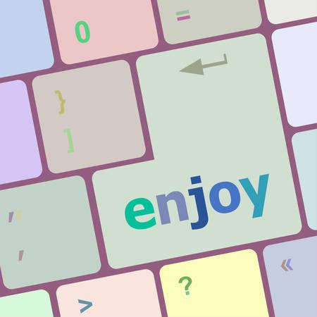 computer button: enjoy word on keyboard key, notebook computer button vector illustration