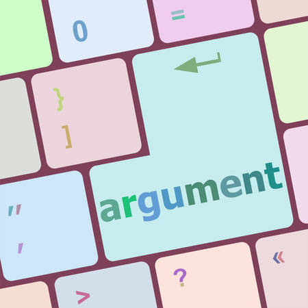 argument: Keyboard with white Enter button, argument word on it vector illustration Illustration